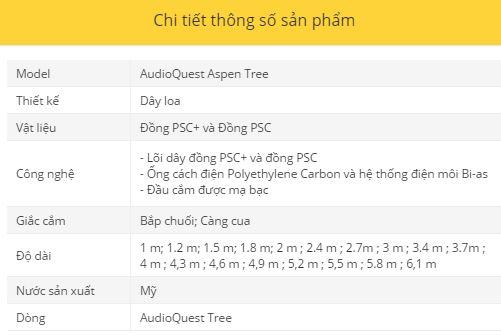 Day loa AudioQuest Aspen Tree