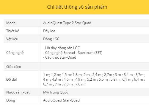 Day loa AudioQuest Type 2 Star-Quad