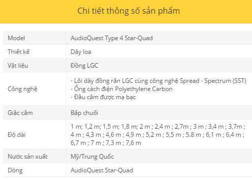 Day loa AudioQuest Type 4 Star-Quad