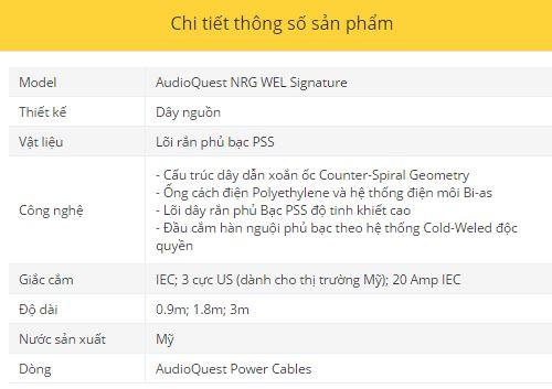 Day nguon AudioQuest NRG WEL Signature